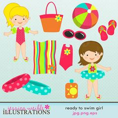 Ready to Swim Girl Cute Digital Clipart for by JWIllustrations