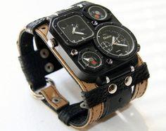 Mens wrist watch leather bracelet Highlander-2 by dganin on Etsy