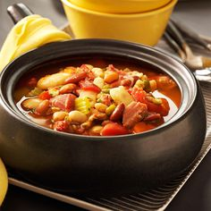 Emily's Bean Soup Recipe -This is a wonderful fall or winter meal, served with thick slices of warm homemade bread. The recipe evolved over the years as I added to it. I often double it and freeze what we don't eat. That way, I can throw some in a pot for a quick meal or if unexpected guests drop by. —Emily Chaney, Penobscot, Maine