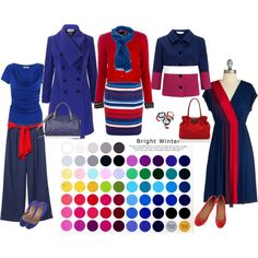 Bright Winter: love the blue coat and the original navy dress with that red touch Clear Winter, Deep Winter, Winter Typ, Seasonal Color Analysis, Quoi Porter, Bright Spring, Winter Springs, Winter Colors, Season Colors