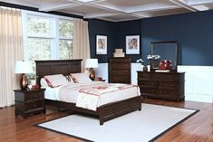 """5 pc Prescott collection sable finish wood headboard queen bedroom set.   This set includes the bed , nightstand, dresser, chest and mirror.  Bed measures 68"""" x 52"""" x 87"""".  Nightstand measures 25"""" x 19"""" x 25"""" H.  Dresser measures 60"""" x 19"""" x 36"""" H.  Mirror measures 38"""" x 38"""" H.  Chest measures 38"""" x 19"""" x 52"""" H.  Some assembly required."""