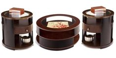 Contrasts Modern Cherry Black Round 3pc Coffee Table Set