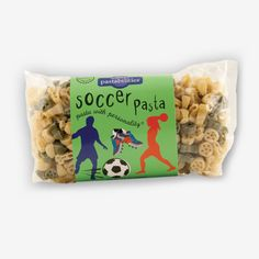 "Soccer Pasta-It's always a World Cup event when our Soccer Pasta is served!  Your players will get a ""kick"" out of it! Enjoy one of our favorite recipes – Bacon Cheeseburger Pasta – included on the label."