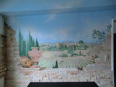 Wandmalerei beim Malermeister Leipholz in Hamburg, LandschaftToskana, Weinberge, Zypressen, Steinimmitation, Krüge, Spatzen
