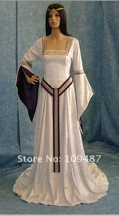 Celtic wedding dress with square neckline and girdle belt medieval Renaissance Fairy, Renaissance Clothing, Medieval Fashion, Medieval Gown, Medieval Costume, Medieval Gothic, Celtic Clothing, Gypsy Clothing, Middle Ages Clothing