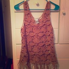 Neutral Lace Tank w/Fringe Purchased from Buckle. Worn once and haven't since. Very cute and in good condition. Color is almost like a rust color. Buckle Tops Tank Tops