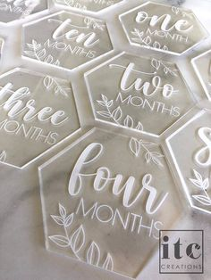 Hexagon Cards, Baby Milestone Cards, Monogram Keychain, Baby Birth, Baby Milestones, Baby Crafts, Laser Engraving, Baby Shower Gifts, Hand Lettering