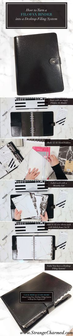 Have a spare A5 Filofax sitting around that you want to put to good use? This is an easy, functional way to add some organization to your desk.