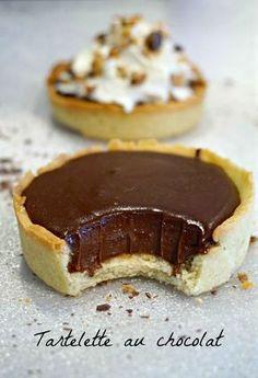 Une recette de tartelette au chocolat super rapide, à la ganache fondante....