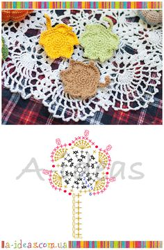 Knitted Crochet leaves, free chart