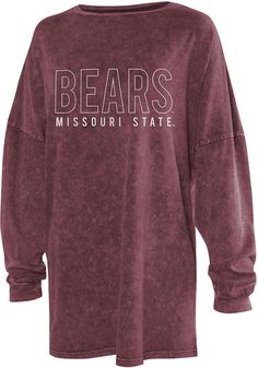 Show off your team spirit for Missouri State Bears with this Womens Maroon College T-Shirt! Rally House has a great selection of new and exclusive Missouri State Bears t-shirts, hats, gifts and apparel, in-store and online. School Spirit Wear, School Spirit Shirts, School Shirts, College T Shirts, College Outfits, College Apparel, School Tshirt Designs, University Outfit, Cheer Shirts
