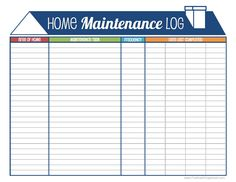 Home maintenance schedule and task list - Templates | CLEANING ...
