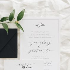 Minimal and classic black and white calligraphy invitation on cotton paper • paulaleecalligraphy.com