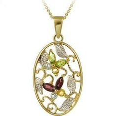 18k Gold Over Silver Multi-gemstone And Diamond Accent Necklace