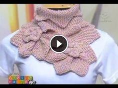 tra un punto e l'altro: LO SCALDA COLLO DI EFFETTO , con i ferri, ma si pu... Lace Knitting, Knitting Stitches, Knitting Designs, Knitting Videos, Crochet Videos, Crochet Collar, Crochet Lace, Knitted Shawls, Crochet Scarves