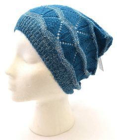 Winter Apt.9 Women Teal Tall Slouch Beanie Shiny Wavy Warm New Hat Knit 8699