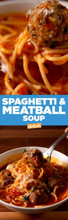 Spaghetti & Meatball Soup Spaghetti & Meatball Soup A whole new take on your typical pasta bowl. Chili Recipes, Soup Recipes, Dinner Recipes, Cooking Recipes, Healthy Recipes, Chowder Recipes, Cooking Ideas, Spaghetti And Meatballs, Spaghetti Soup