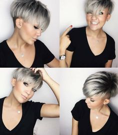 Get this Hairstyle: - Silver Platinum Bowl Cut Undercut Pixie Choppy Pixie Cut, Blonde Pixie Cuts, Choppy Hair, Everyday Hairstyles, Pixie Hairstyles, Pixie Undercut Hair, Pixie Haircut Thin Hair, Edgy Pixie Haircuts, Short Hair Wigs