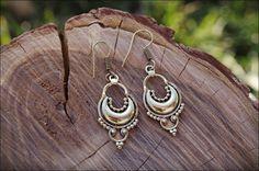 TRIBAL MOON brass EARRINGS. Pendientes bronce. por mARTtika en Etsy
