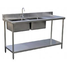 stainless steel double bowl sink table left right centre kitchentech commercial supply - Kitchen Sink Supplier