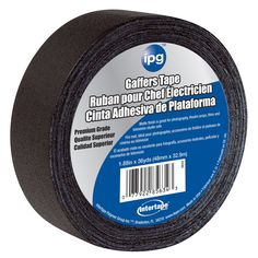 """Gaffers tape, All-weather, Flexible and sturdy, Premium grade, Cloth tape for stage and theatrical applications, Non-reflective matte finish, Black, 1.87"""" X 180'. Material: Plastic Color: Black Color:"""