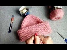 Как связать шапку английской, двойной, и французской резинкой - схема и мк. Как сделать модную макушку у шапки! Шапки с отворотом и с двойным отворотом.