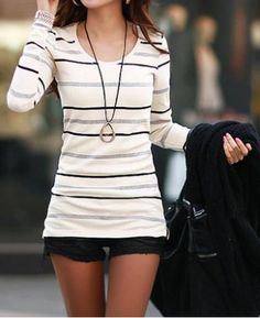 Fashionable Scoop Neck Long Sleeve Striped T-Shirt For Women