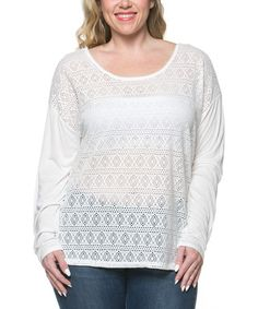 White Sheer Cutout Lace Top - Plus #zulily #zulilyfinds