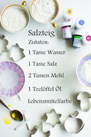 Salzteig: So geht es: Ihr vermengt das Mehl mit dem Wasser und Salz sowie knetet das Ganze zu einem festen Teig. Für die Geschmeidigkeit fügt Ihr einen Teelöffel Speiseöl dazu. Wenn der Teig zu glitschig ist, knetet einfach noch etwas Mehl dazu. Nun könnt Ihr Euch Stücke vom Teig abteilen und mit Lebensmittelfarbe bearbeiten. Seid sparsam mit der Farbzugabe, peu a peu! Vergesst nicht: Beim Brennen im Ofen verblasst die Farbe ein wenig. Anschließend geht es weiter mit dem Formen. Dazu nehmt…
