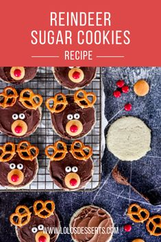 EASY and kid friendly Christmas Cookie idea! Sugar Cookie Reindeers are really simple and perfect for a cookie exchange or to add to a cookie tray.  #sugarcookie #reindeercookie #kidfriendly #kidcrafts #christmascookie #baking #easycookies