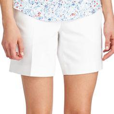Petite Chaps Stretchy Cotton Shorts, Women's, Size: 10 Petite, White