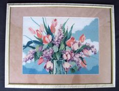 Vtg Framed Floral Bouquet Tulips Lilacs Flowers Completed Needlepoint  26 x 20
