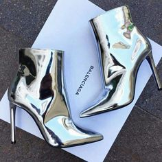 """Best goods from universe! - Buy """"Fashion Metallic Leather Ankle Boots Pointed Toe High Heels Women Pumps Sexy Ladies Shoes Woman Mirror Gold Silver Women Boots"""" for only USD. Heeled Boots, Bootie Boots, Shoe Boots, Shoes Heels, Boot Heels, Ankle Heels, Buy Shoes, Ankle Booties, Dream Shoes"""
