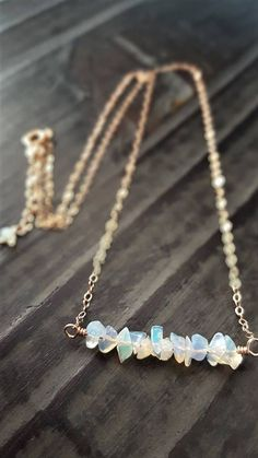 Opal And Rose Gold Necklace Raw Ethiopian Opal Chips 14