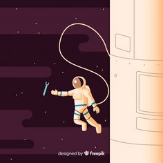Modern astronaut character with flat design Free Vector Astronaut Illustration, Space Illustration, Character Illustration, Illustrations, Flat Design, Space Projects, Calendar Design, Canvas Ideas, Outer Space