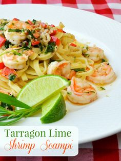 Tarragon Lime Shrimp Scampi. A fresh, fast and utterly delicious seafood & pasta dinner in only about 20 minutes.