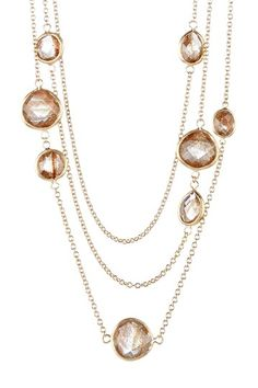 18K Gold Clad Cascading Layered Gold Rutilated Crystal Station Necklace -Rivka Friedman
