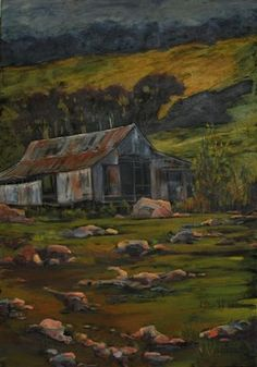 """'Old Jack's Woolshed' by Georgia Mansur, Acrylic on stretched canvas, 40x30"""", email georgia@georgiamansur.com for details. http://www.georgiamansur.com"""