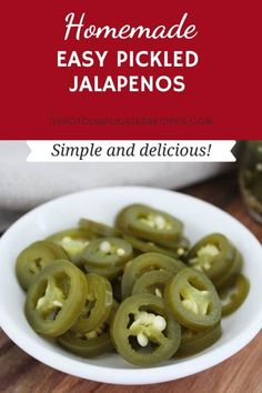 Elevate the flavour of many dishes with these Easy and Quick Pickled Jalapenos. You will always want to have a jar of these homemade pickles on hand - you can even make a big batch and gift them to family and friends!    #easypickles #pickledjalapenos #ediblegift #cravecookconsume #itsnotcomplicatedrecipes #easypreserves #homemadepickles Con Carne Recipe, Pickling Jalapenos, Vegan Side Dishes, Homemade Pickles, Kitchen Recipes, Canning Recipes, Recipe Filing, Recipe For Mom