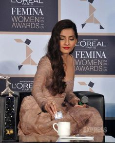 Sonam Kapoor making coffee at a Femina Women Awards 2015 event. #Bollywood #Fashion #Style #Beauty