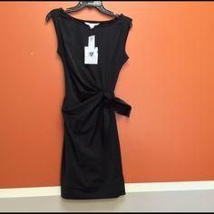 Reduced! DVF LBD!  New Della Black Dress! Diane von Furstenberg little black dress in a stretchy, light weight fabric for summer.  Ultra flattering neckline, tie front, and draping.  NWT in size 4. Diane von Furstenberg Dresses Midi
