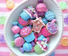 Assorted Candy and Cupcake Sugared Ornaments-ornaments, Christmas, candy, cupcake, gingerbread house, pink, blue, crafts, supplies, holidays, tree, sweets, flat back
