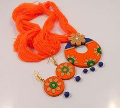 Awesome Designer Painted Terracotta Clay With Thread Chain