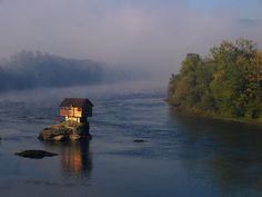 Dwelling on the Drina River near the town of Bajina Basta, Serbia.  Photograph by Uros Petrovic.