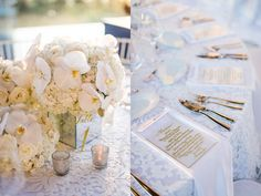 Cream and White Flowers and Clear and Gold Menus