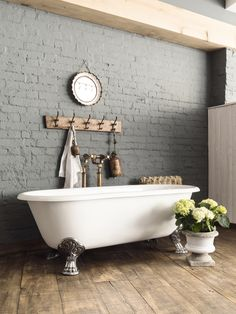 Defining the classic roll-top bath style, you will bathe in luxury in this French Empire inspired double-ended cast iron bath. Loft Bathroom, Family Bathroom, Bathroom Ideas, Master Bathrooms, Bathroom Inspo, Basement Bathroom, Interior Design Boards, Bathroom Interior Design, Small Freestanding Bath