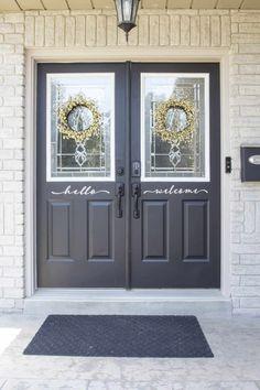 front door trim after Unique Garage Doors, Garage Door Panels, Garage Door Styles, Garage Door Design, Barn Garage, Painting Trim, House Painting, Painting Doors, Diy Painting