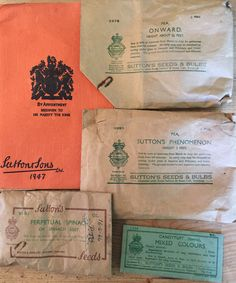 Sutton's Horticultural Catalogue 1947 and some rare surviving seed packets believed to be from a similar date 1946/1947 except the Perpetual Spinach which dates from 1956. Date is written on the Pedigree Quality seal on the back of the packet.