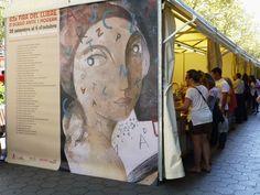 Cartell de la Fira que forma part d'una caseta, obra de l'artista Didier Lourenço