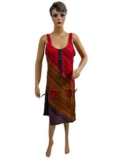 Boho Summer Dress, Red Brown Stripes Handloom Tribal Cotton Dresses for Womens Mogul Interior,http://www.amazon.com/dp/B00AZW4N9C/ref=cm_sw_r_pi_dp_db5qsb0J87XV8PXK